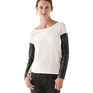 AIKO Kwan Cashmere Blend Leather Sleeve Sweater M